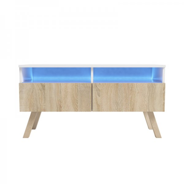 "Selsey Siena Wood 1000 TV Stand for TVs up to 55"" with LED Lighting Kit - White & Sonoma Oak"