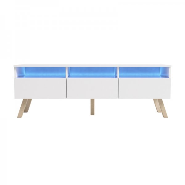 "Selsey Lavello Wood 1500 TV Stand for TVs up to 70"" with LED Lighting Kit - White"