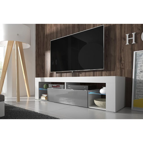 "Selsey Hugo 1400 TV Stand for TVs up to 50"" with LED Lighting Kit - White Matt & Grey Gloss"