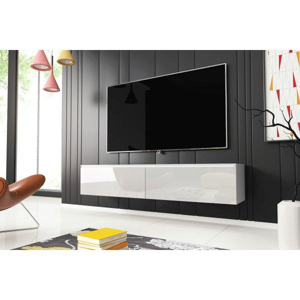 "Selsey Kane 1400 TV Stand for TVs up to 64\"" with LED Lighting Kit - White Matt & White Gloss"