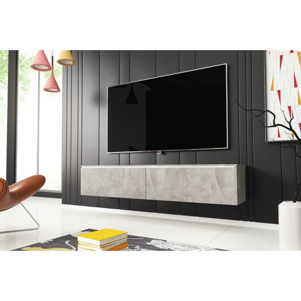 "Selsey Kane 1400 TV Stand for TVs up to 64"" with LED Lighting Kit - Concrete"