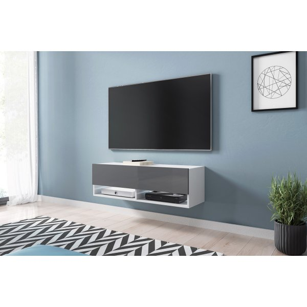 "Selsey Wander 1000 TV Stand for TVs up to 49"" with LED Lighting Kit - White Matt & Grey Gloss"