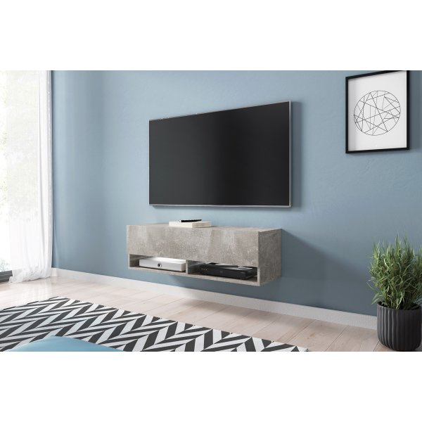 "Selsey Wander 1000 TV Stand for TVs up to 49"" with LED Lighting Kit - Concrete"