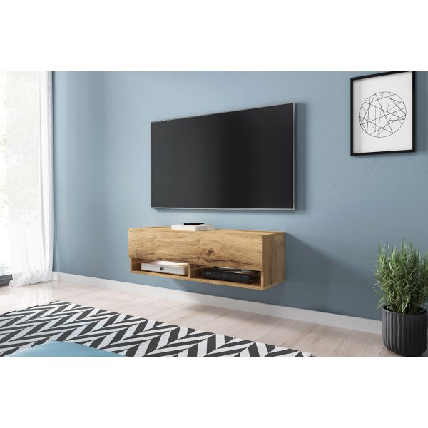 "Selsey Wander 1000 TV Stand for TVs up to 49"" with LED Lighting Kit - Oak"