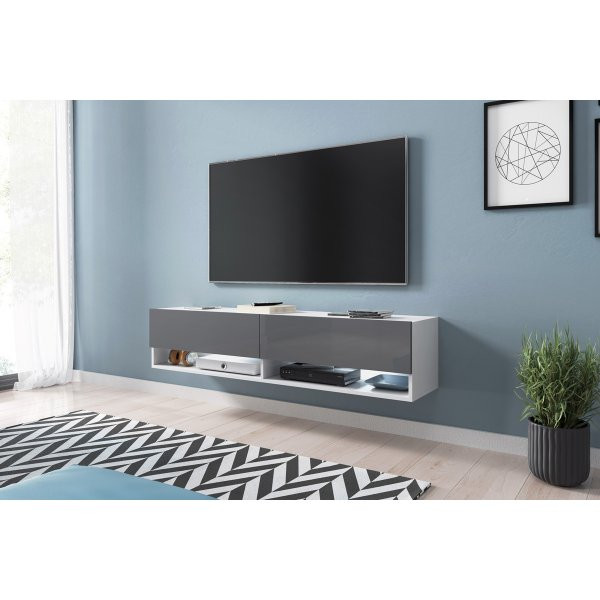 "Selsey Wander 1400 TV Stand for TVs up to 64"" with LED Lighting Kit - White Matt & Grey Gloss"