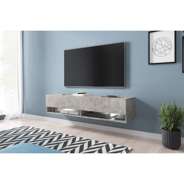 "Selsey Wander 1400 TV Stand for TVs up to 64"" with LED Lighting Kit - Concrete"