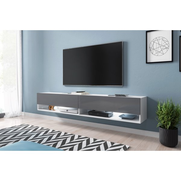 """Selsey Wander 1800 TV Stand for TVs up to 90\"""" with LED Lighting Kit - White Matt & Grey Gloss"""