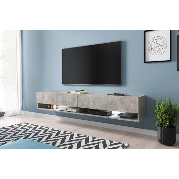 "Selsey Wander 1800 TV Stand for TVs up to 90"" with LED Lighting Kit - Concrete"