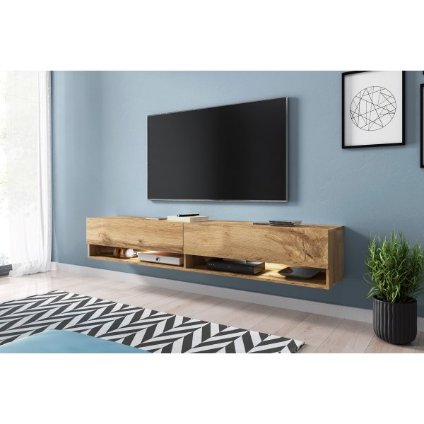 "Selsey Wander 1800 TV Stand for TVs up to 90"" with LED Lighting Kit - Oak"