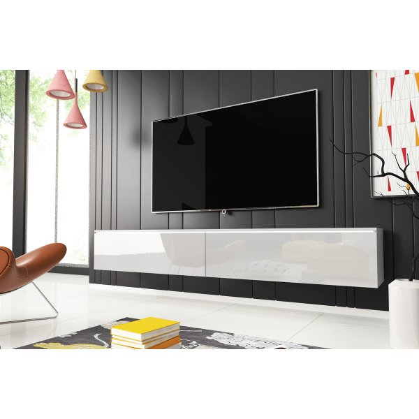 "Selsey Kane 1800 TV Stand for TVs up to 90"" with LED Lighting Kit - White Matt & White Gloss"