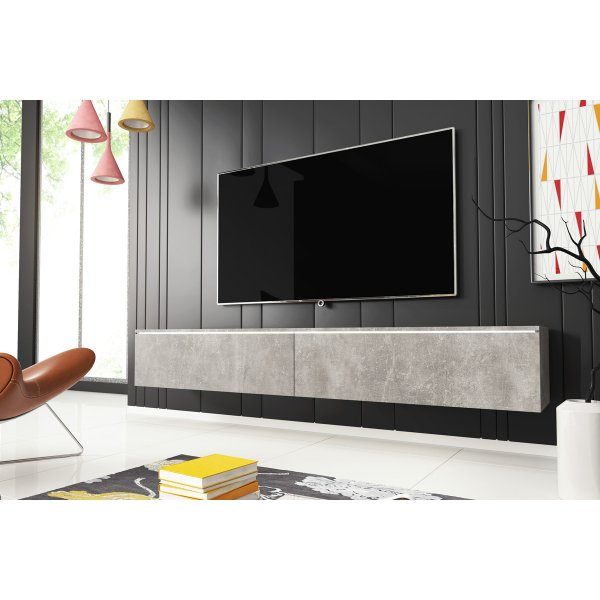"""Selsey Kane 1800 TV Stand for TVs up to 90\"""" with LED Lighting Kit - Concrete"""