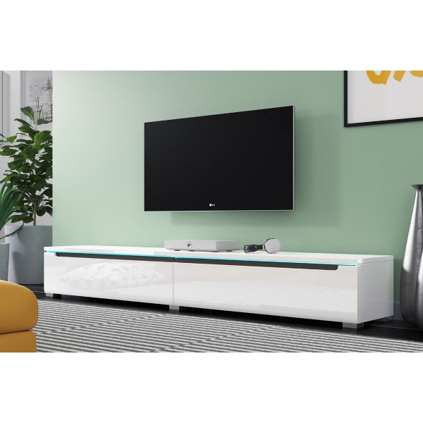 "Selsey Swift 1800 TV Stand for TVs up to 90"" with LED Lighting Kit - White Gloss"