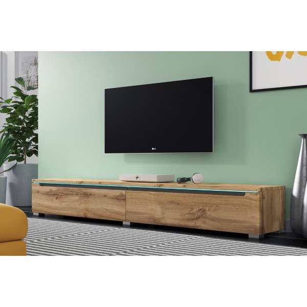 "Selsey Swift 1800 TV Stand for TVs up to 90"" with LED Lighting Kit - Oak"