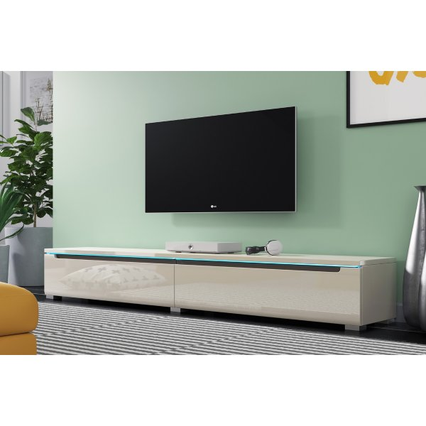 """Selsey Swift 1800 TV Stand for TVs up to 90\"""" with LED Lighting Kit - Grey Gloss"""