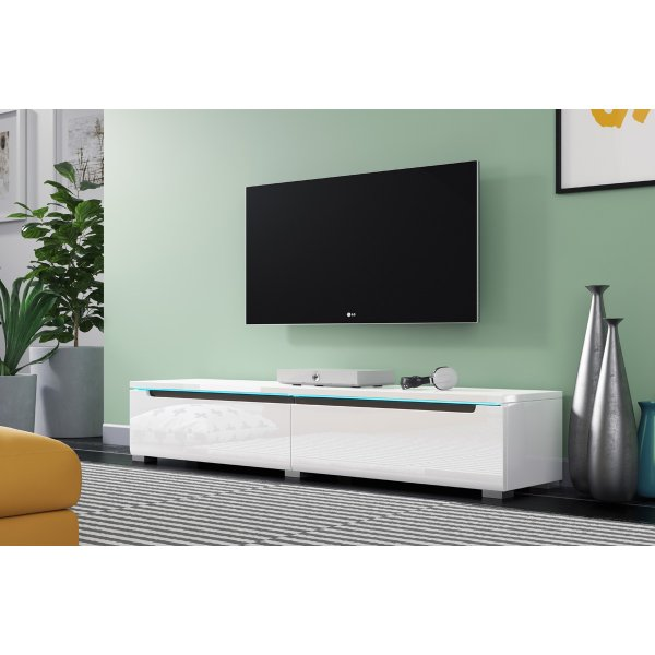 "Selsey Swift 1400 TV Stand for TVs up to 64"" with LED Lighting Kit - White Gloss"