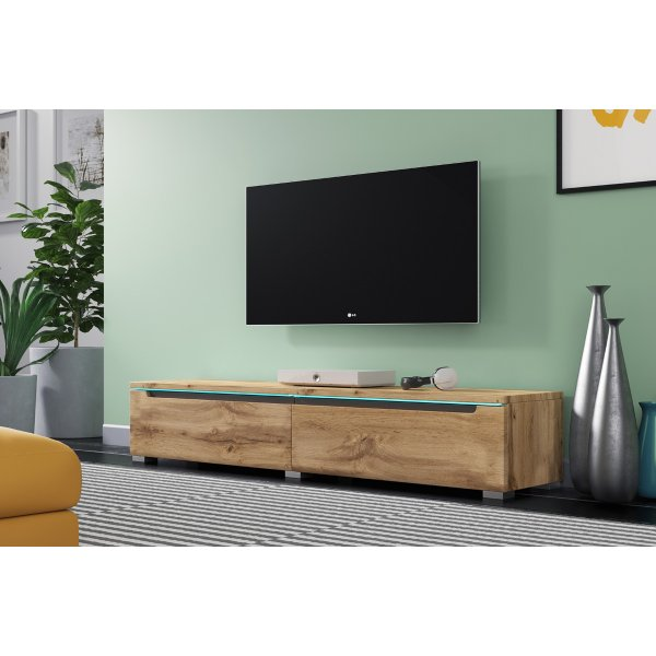 "Selsey Swift 1400 TV Stand for TVs up to 64"" with LED Lighting Kit - Oak"