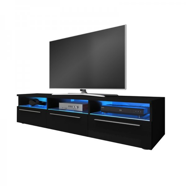"Selsey Lavello 1500  TV Stand for TVs up to 48"" with LED Lighting Kit - Black Matt & Black Gloss"