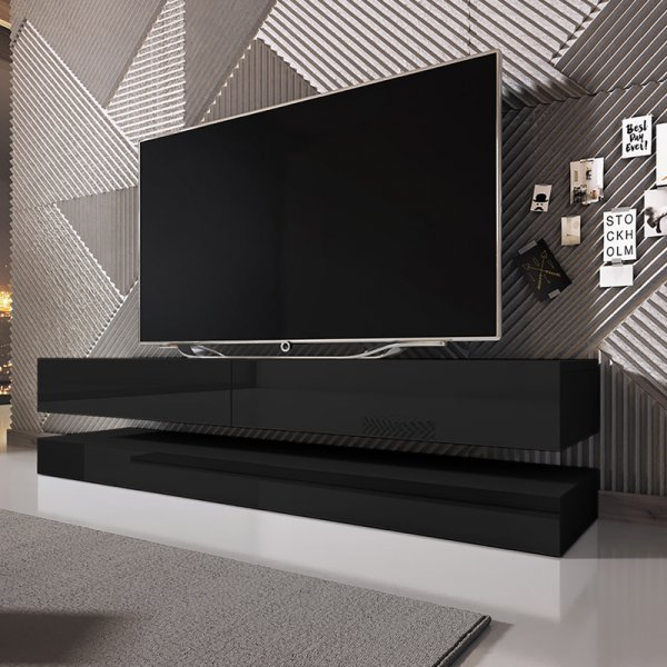 "Selsey Aviator 1400 TV Stand for TVs up to 48"" - Black Matt & Black Gloss"