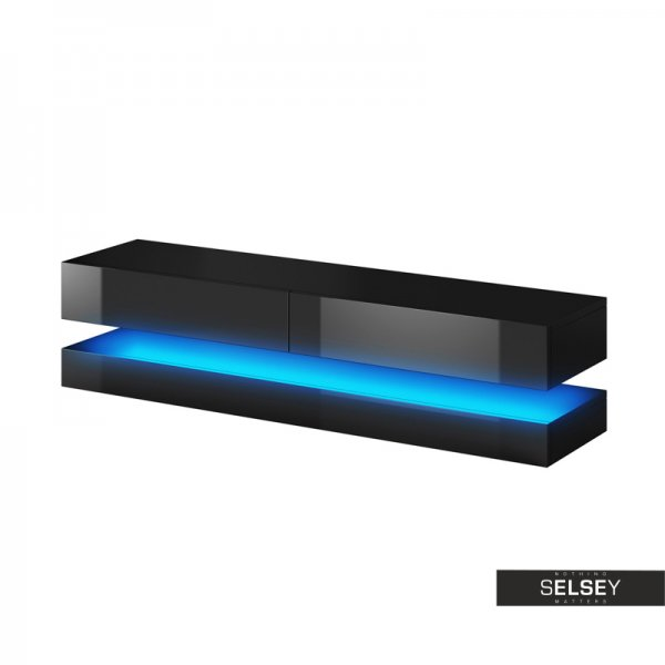"Selsey Aviator 1400 TV Stand for TVs up to 48"" with LED Lighting Kit - Black Matt & Black Gloss"