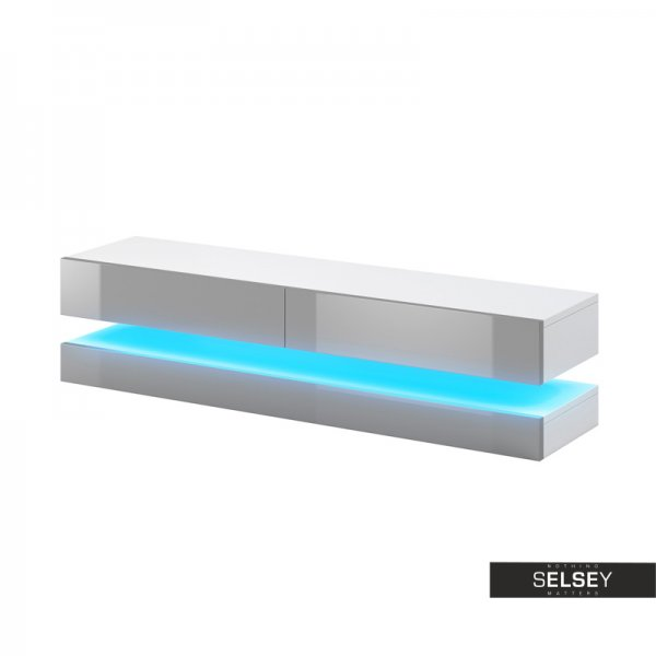"Selsey Aviator 1400 TV Stand for TVs up to 48"" with LED Lighting Kit - White Gloss & Grey Gloss"