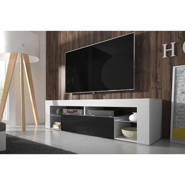 """Selsey Hugo 1400 TV Stand for TVs up to 50\"""" - White Matt & Black Gloss"""
