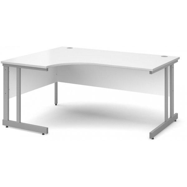 DSK Momento 1600mm Left Hand Ergonomic Desk - White