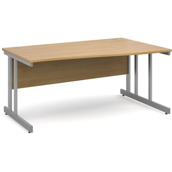 DSK Momento 1600mm Right Hand Wave Desk - Light Oak
