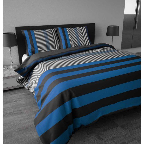 Sleep Time Bond Stripe Duvet Cover Set - Blue - Single 3ft