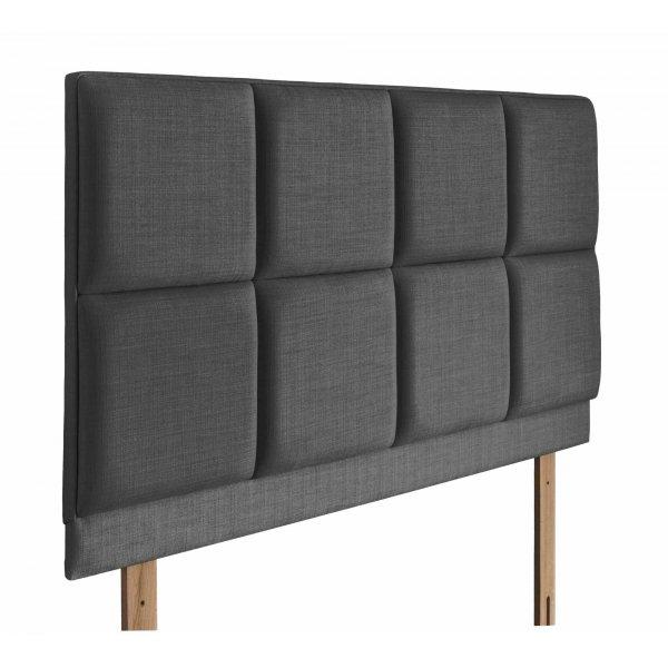 Swanglen Turin Gem Fabric Headboard with Wooden Struts - Granite - King 5ft
