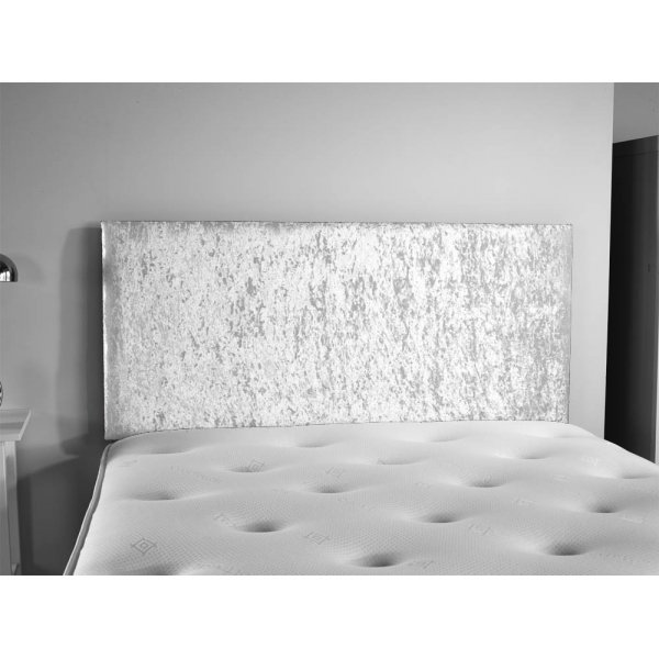 ValuFurniture Doll Velvet Fabric Headboard - Silver - Double 4ft6