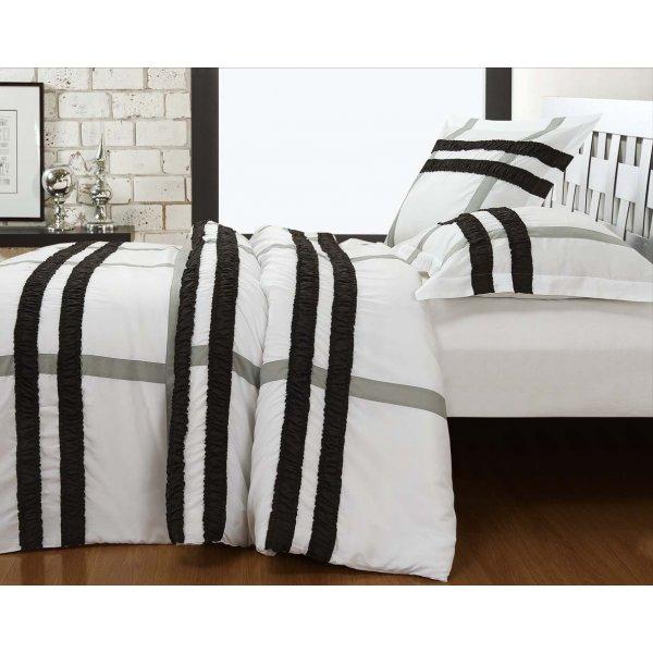 Fancy Embroidery Bradford Duvet Cover Set - White - Single 3ft