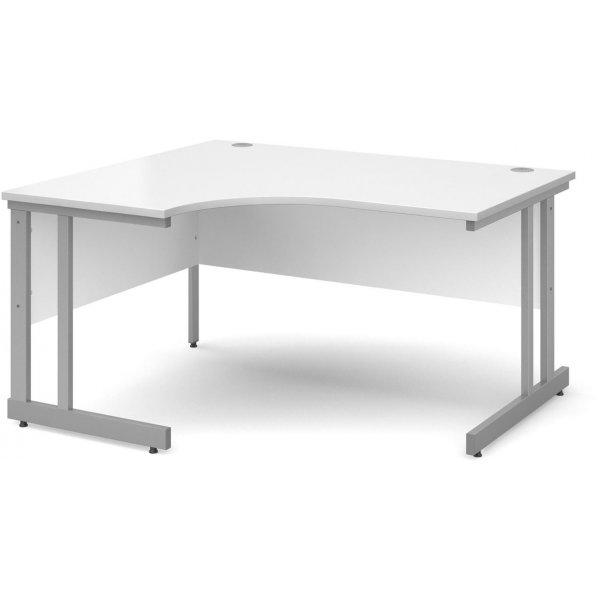 DSK Momento 1400mm Left Hand Ergonomic Desk - White