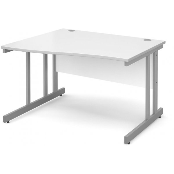 DSK Momento 1200mm Left Hand Wave Desk - White
