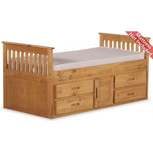 Amani Captain Single Slat Bed with Storage - 5 Drawers