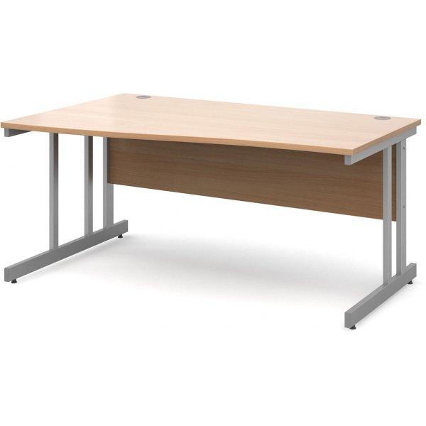DSK Momento 1600mm Left Hand Wave Desk - Beech