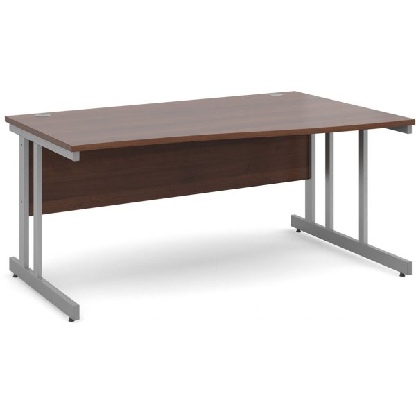 DSK Momento 1600mm Right Hand Wave Desk - Walnut