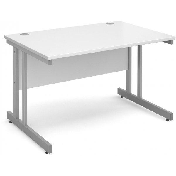 DSK Momento 1200mm Straight Desk with Cantilever Leg - White