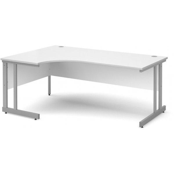 DSK Momento 1800mm Left Hand Ergonomic Desk - White