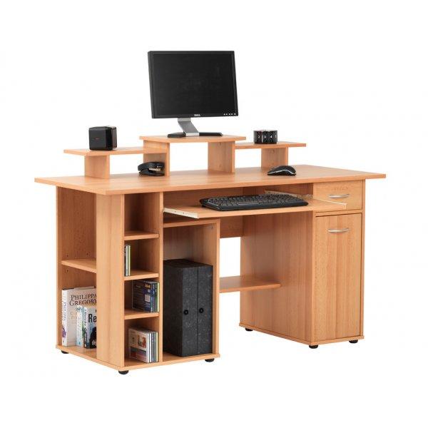 Alphason San Diego Workstation with Cupboard - Beech