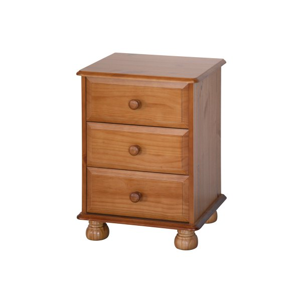 Dovedale 3 Drawer Pine Bedside Chest