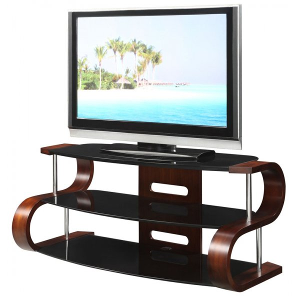 """Jual Florence Curved Walnut / Black 50\"""" TV Stand"""