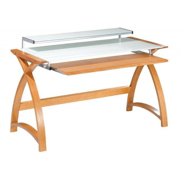 Jual Helsinki Curved Compact Oak and White Glass Desk