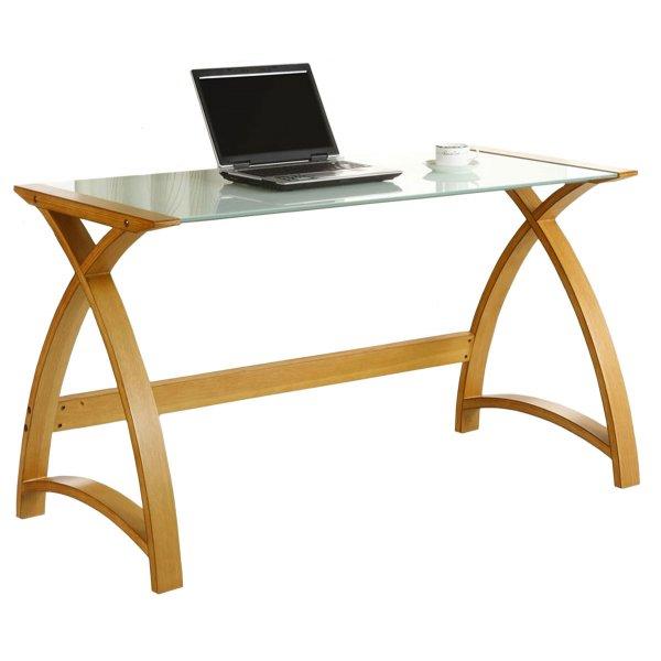 Jual Helsinki Curved Oak and White Glass Laptop Desk