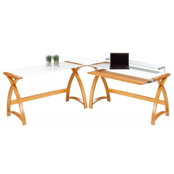 Jual Helsinki - Curved Oak and White Glass Desk