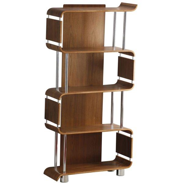Jual Bali Walnut Bookshelf with Chrome Supports