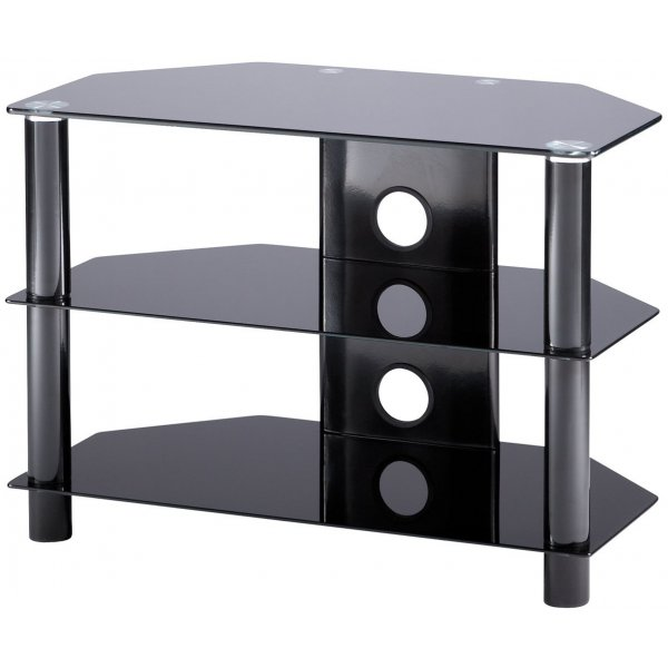 Alphason Essentials - 3 shelf black TV Stand for up to 37""