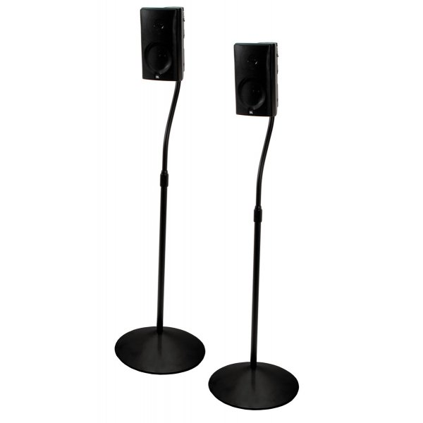B-Tech Pair of Black Speaker Stands with Metal Base