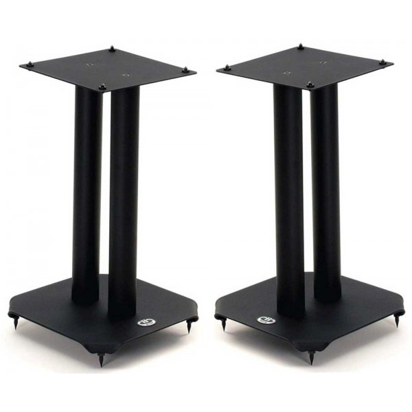 B-Tech 40cm Pair of Black Speaker Stands with Metal Base