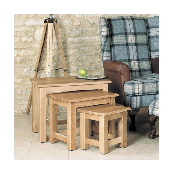 Mobel Oak Nest Of Three Coffee Tables