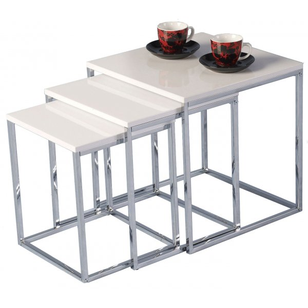 Charisma Gloss White and Chrome Nest of Tables
